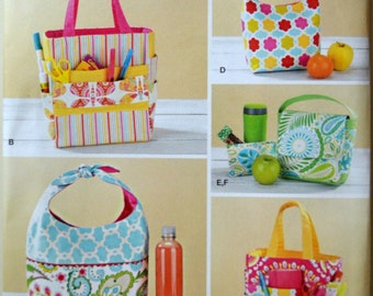 Uncut 2014 Simplicity Sewing Pattern 1385; Art Caddies, Lunch Bags, and Snack Bag
