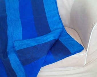 Alpaca Throw Blanket - bright blues
