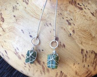 Saguaro Jasper Dangle, Wire Wrapped, Earrings