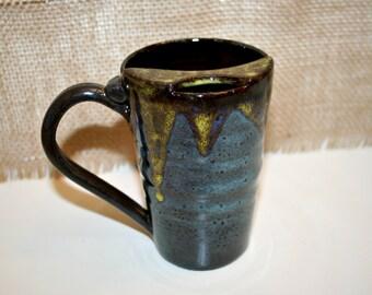 Blue and Yellow Mustache Mug, Coffee or Tea Mug