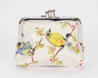 Double Coin Purse- Oilcloth Australian Bird Rosella Cockatoo- Small ladies wallet- Oilcloth clasp coin wallet- Oil cloth Kissloch purse