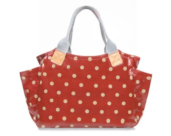 Oilcloth Shoulder bag - Red Polka dot bag - Ladies handbag- Oil cloth zip bag- Woman purse- Zip Tote bag - Fabric Day bag - Laminated cotton