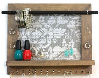 Jewelry Organizer - Floral Wall Hanging Jewelry Display