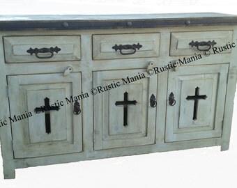 Rustic White VanityTemplar Dresser Buffett (6137)