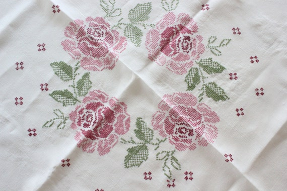 Hand embroidered vintage white linen tablecloth pink roses