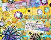 mixed-media collage (print):  scatter seeds of peace (print)