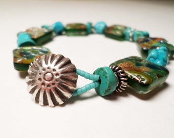 Tribal Turquoise and Glass Beaded Bracelet