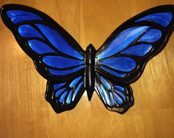 Ceramic Butterfly Wall/Shelf Decor Blue/Black