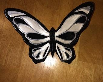 Ceramic Butterfly Wall/Shelf Decor Black/Pearl/Silver