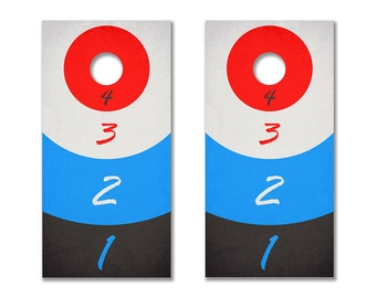Drinking Game Cornhole Board Decals (Red & Blue)