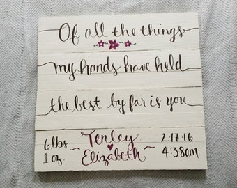 Of All The Things My Hands Have Held | Hand-painted Nursery Sign