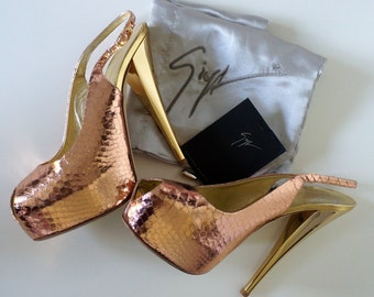 Giuseppe Zanotti vintage authentic high heel shoes pumps gold pink snake leather size 38