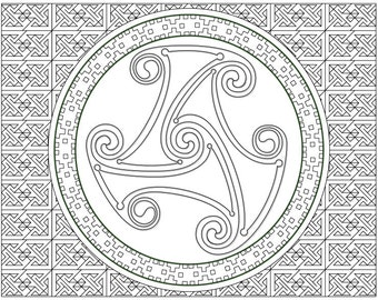 Celtic Spiral Wheel Coloring Page