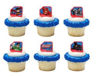 Justice League Superhero cupcake rings (24) party favor cake topper 2 dozen