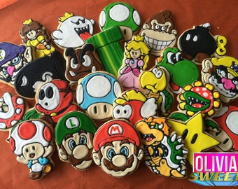 NINTENDO INSPIRED Mario & Luigi Decorated Sugar Cookies - Set of 12 | Yoshi Birthday Party Video Game Princess Peach Daisy Goomba