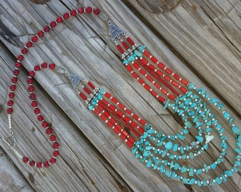 Turquoise & Coral Statement Bib Necklace