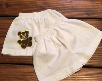 Teddy Bear Infant Shorts/ Baby Boy Boxers /100% cotton boxer briefs for baby boys /Teddy Bear Diaper Cover / Infant Shorts / Newborn Shorts