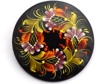 "Painted pin: Ukrainian traditional Petrykivka (Petrikovka) painting, 2"", wooden handmade painted  brooch"