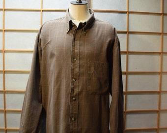 Pendleton Men's Cotton Plaid Shirt Brown Tan  Size L