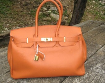 Model Kelly Orange Leather Made in Italy