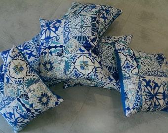 Blue pillows patchwork design