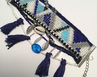 Blue and white Cuff Bracelet