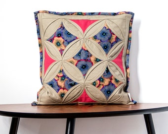 Cushion cover-Cathedral Window patchwork-40x40cm handmade-floral-100% cotton-unique pillow cover