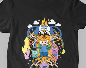 New Adventure Time Multi-Character Jake and Finn Fine Cotton Jersey Mens and Ladies Womens T-Shirt Unisex Adult Sizes