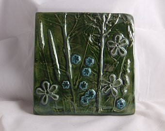 Ceramic art tile Wildflowers 1 Green with blue and purple