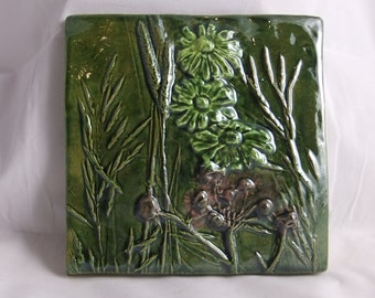 Ceramic Art Tile Wildflowers 4 in Green yellow purple