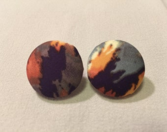 Medium Blue and Purple Flame  Button Earrings