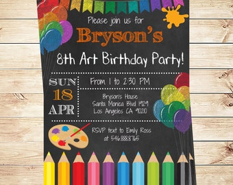 Art Party Invitations  Printables  Birthday Party invitations, Art Birthday Party Invite for Kids, Art Party Invitation  Ideas Colorful