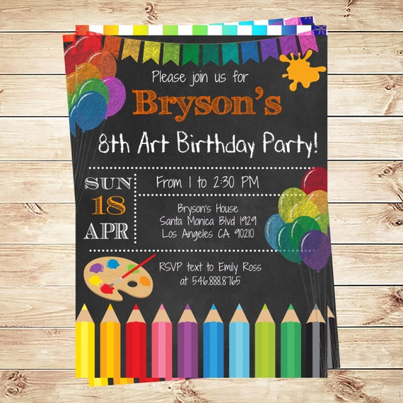 art party invitations printables birthday party invitations, Birthday invitations