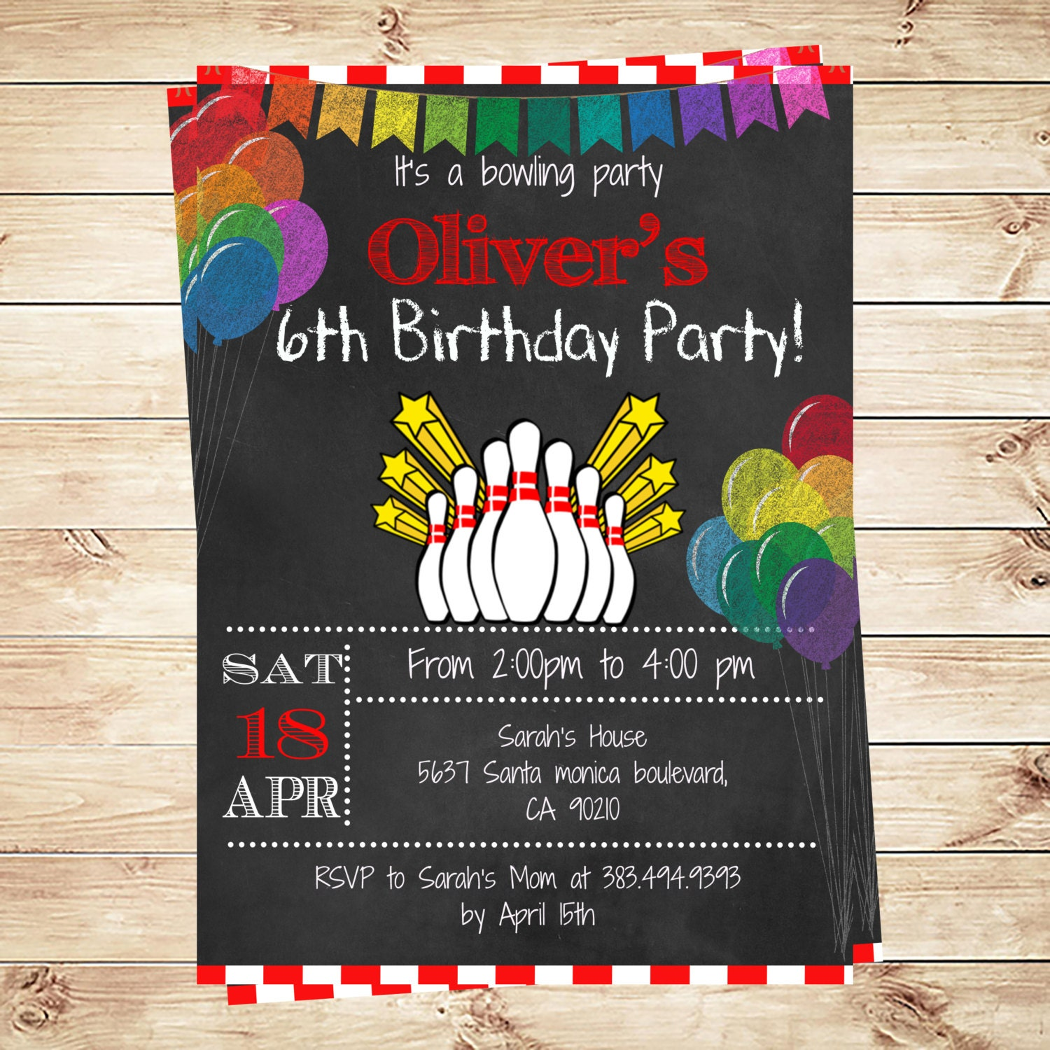 Printable Bowling Birthday Party Invitation Boy Bowling