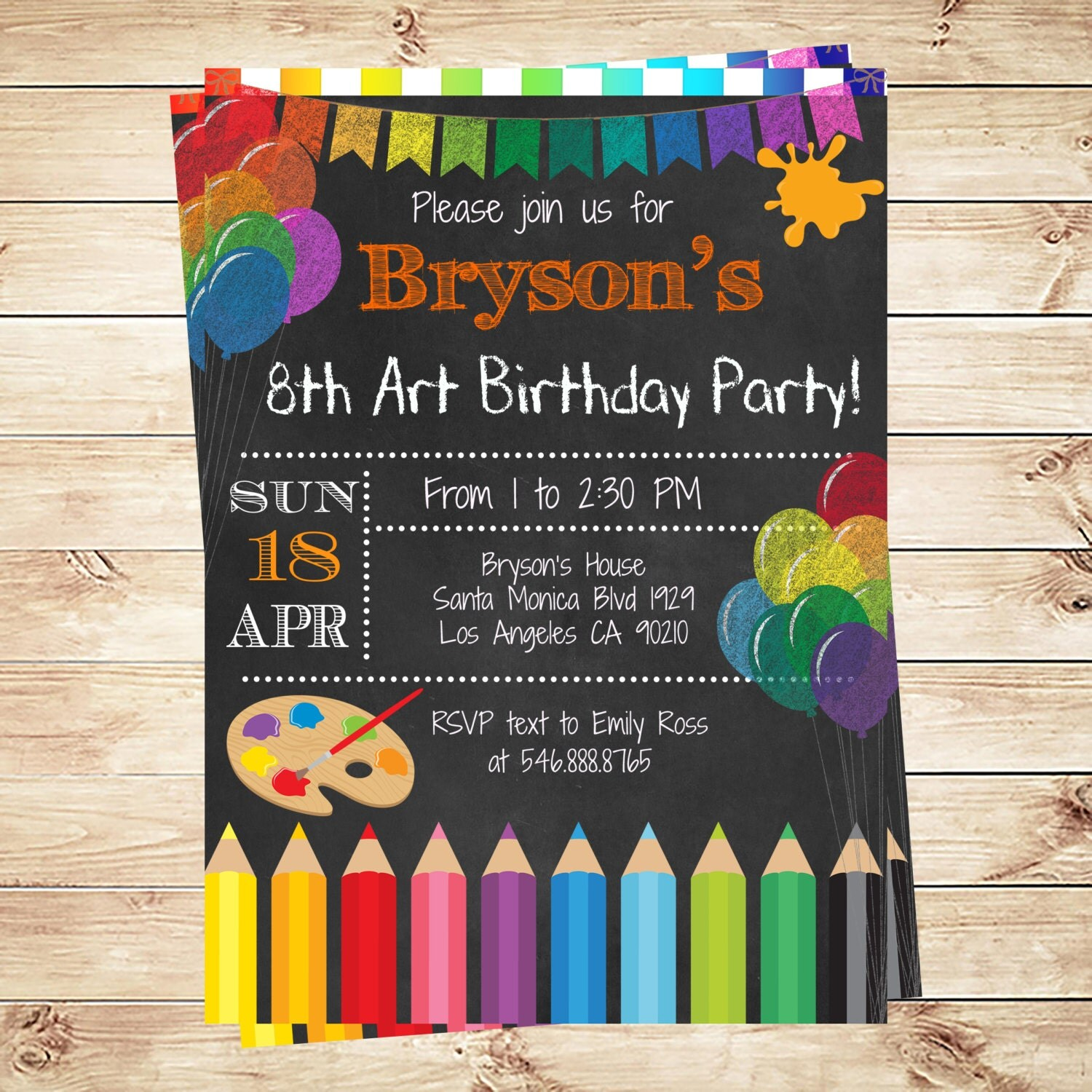 Art Party Invitations Printables Birthday Party invitations