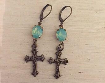 Cross Earrings Pacific Opal