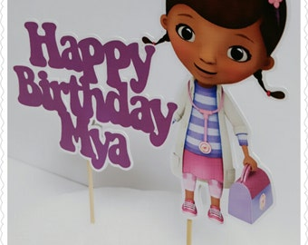 Doc McStuffins--Inexpensive Personalized Cake Toppers with Name & Character--Kid's Birthday Party Decorations