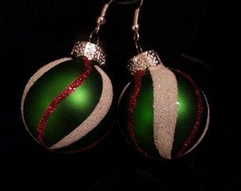 Green Christmas Earrings