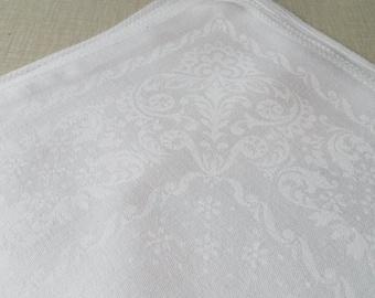 Set of 6 vintage white damask linen napkins, Sweden 1960s