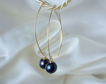 Black freshwater pearl earrings yellow gold GF black pearl earrings gold filled