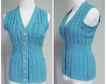 Vintage Fritzi of California Womens Blue V-Neck Button Down Sweater Vest | Size S
