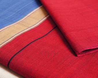ON SALE Red Blue Grey Stripe Cotton Fabric by 1/4 Metre, Woven Fabric, Handwoven Fabric Nepal, Stripe Fabric, Reversible, Yarn Dyed Cotton