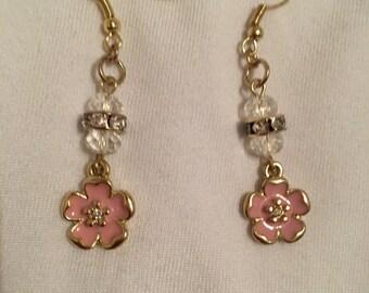 Sparkly flower charm earrings
