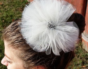 Ivory Tulle Flower with Vintage Brooch