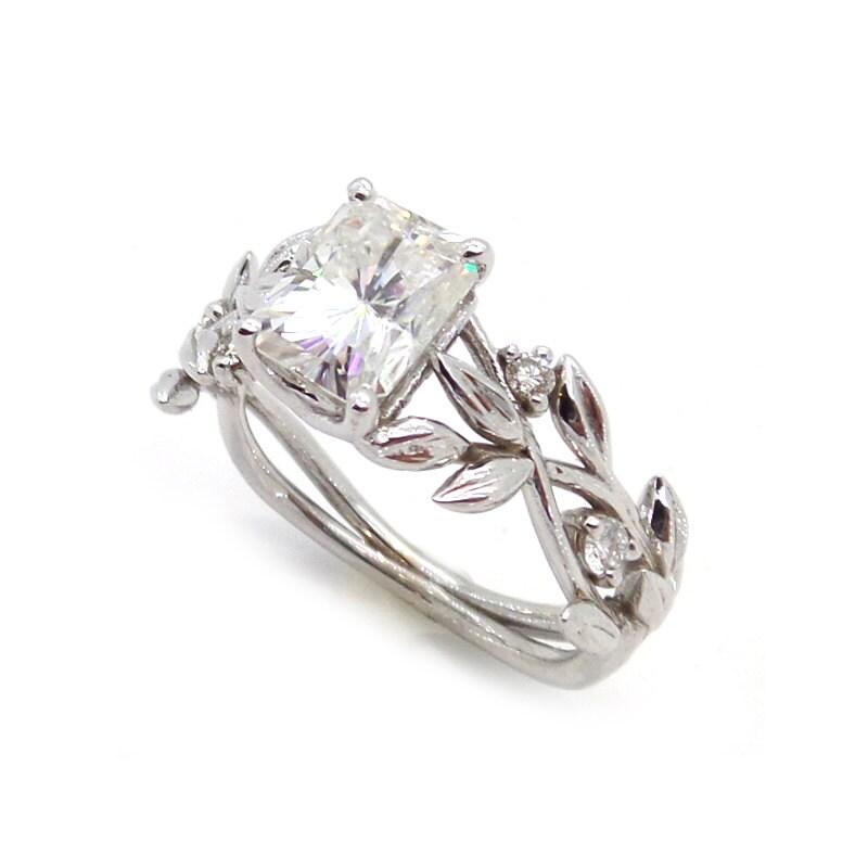 Leaf engagement ring Moissanite engagement ring White 14K
