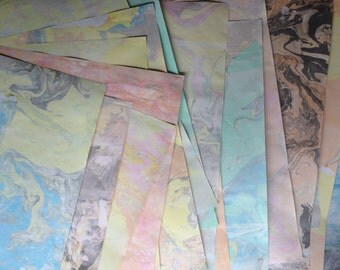 Suminagashi Hand-Marbled Paper : Mixed Set of Six Half Sheets or Whole Sheets, Wrapping Paper, Decorative Paper, Handmade Paper, Marbling