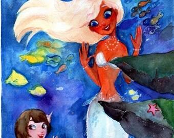 Aquarium: Original Mermaid Watercolor Painting