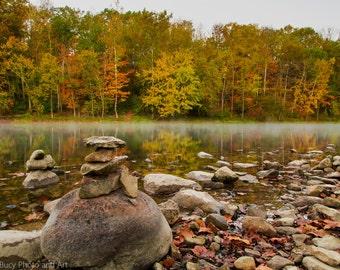 Fall Reflections, Water, Trees, Autumn, Rocks, Fog, Wall Art, Wall Décor, Fine Art, Home Décor