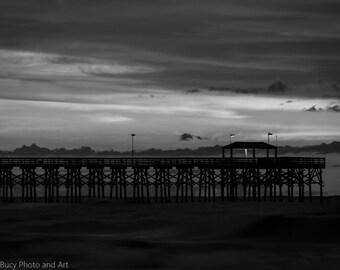 Pier Silhouette, Ocean, Water, Clouds, Sunrise, Black and White, BNW, B&W, Wall Art, Wall Décor, Fine Art, Home Décor