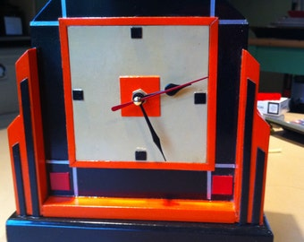 Art deco style funky retro hand-made clock